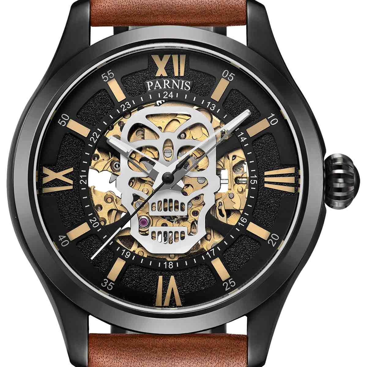 【残り1点】【NEW】PARNIS パーニス 自動巻き 腕時計 [PA6054-S3AL-BKBR] 並行輸入品 純正ケース メーカー保証12ヶ月