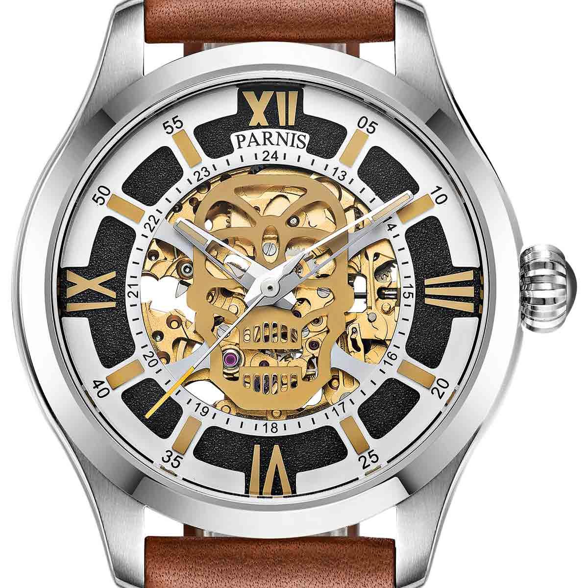 【残り1点】【NEW】PARNIS パーニス 自動巻き 腕時計 [PA6054-S3AL-SVBR] 並行輸入品 純正ケース メーカー保証12ヶ月