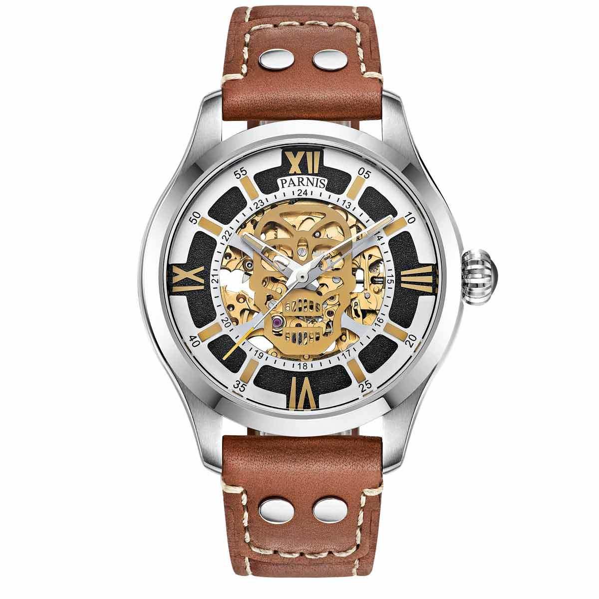 PARNIS标准打数青漆自动卷手表[PA6054-S3AL-SVBR]并进进口商品纯正情况厂商保证12个月