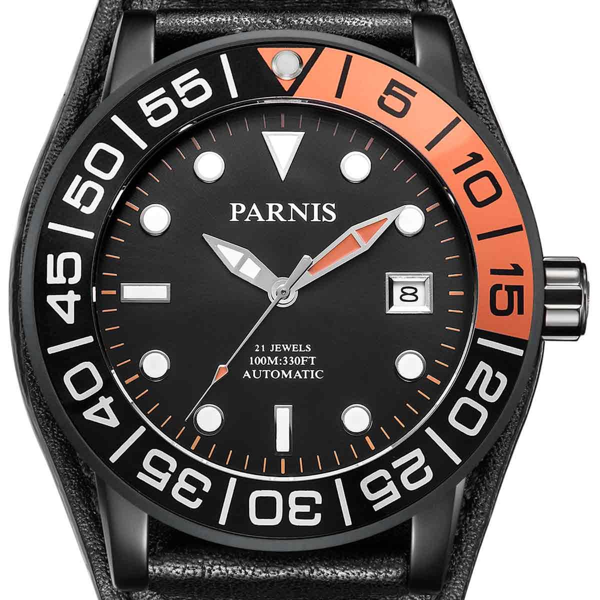 【NEW】PARNIS パーニス 自動巻き 腕時計 [PA6056-S3AL-BKorBK] 並行輸入品 純正ケース メーカー保証12ヶ月