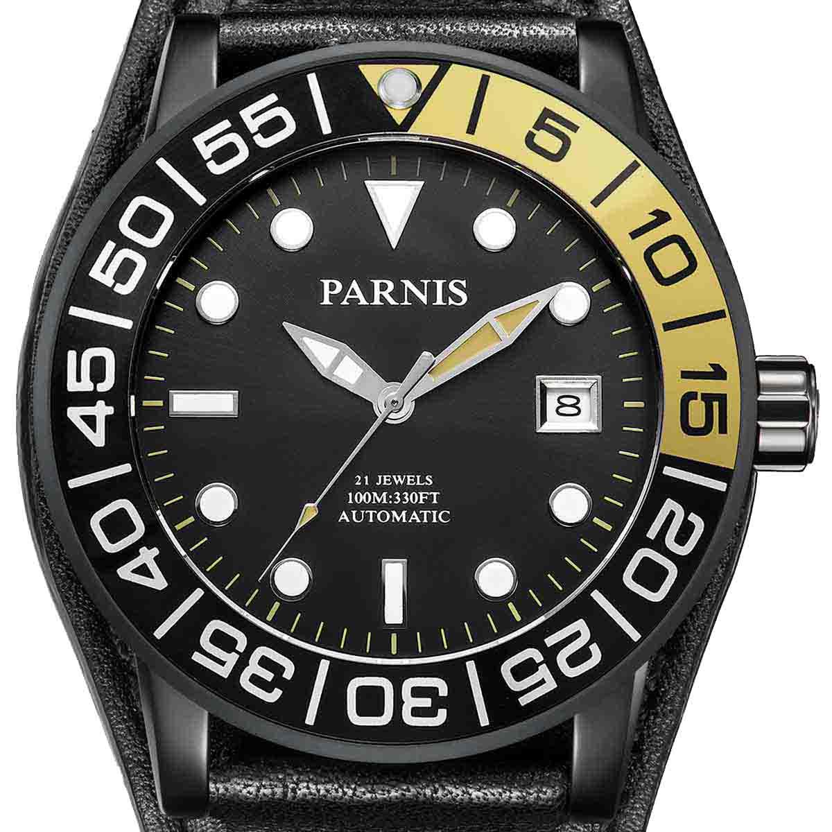 【NEW】PARNIS パーニス 自動巻き 腕時計 [PA6056-S3AL-BKylBK] 並行輸入品 純正ケース メーカー保証12ヶ月