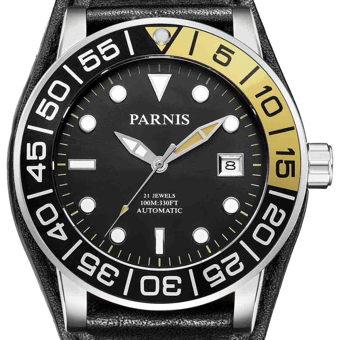 【NEW】PARNIS パーニス 自動巻き 腕時計  [PA6056-S3AL-SVBK] 並行輸入品 純正ケース メーカー保証12ヶ月