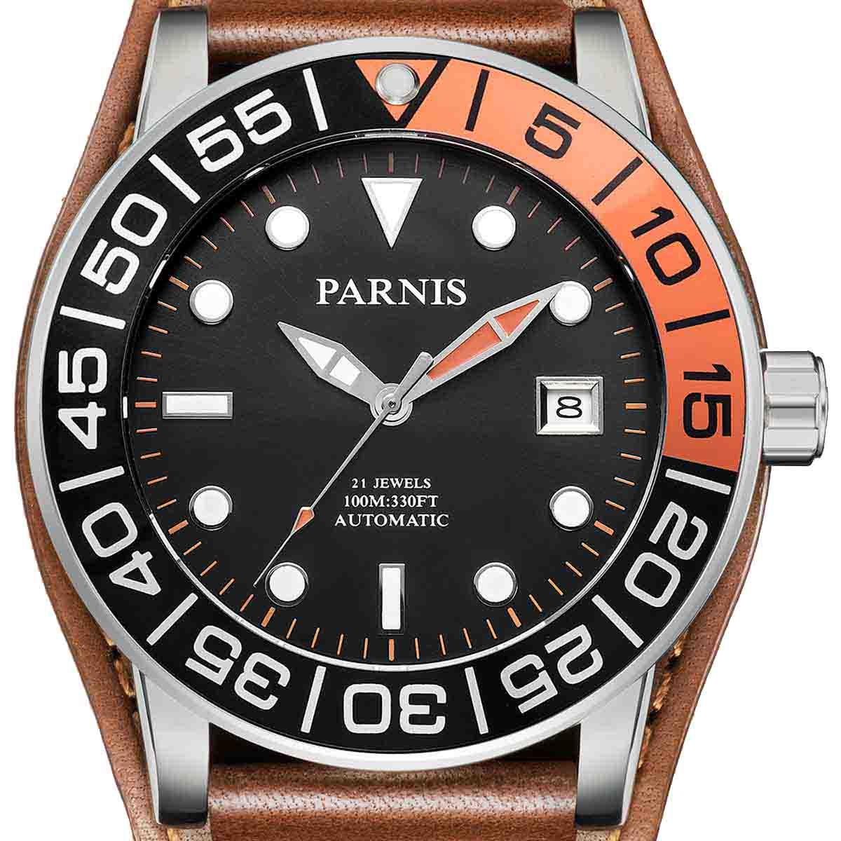 【NEW】PARNIS パーニス 自動巻き 腕時計 [PA6056-S3AL-SVbkBR] 並行輸入品 純正ケース メーカー保証12ヶ月