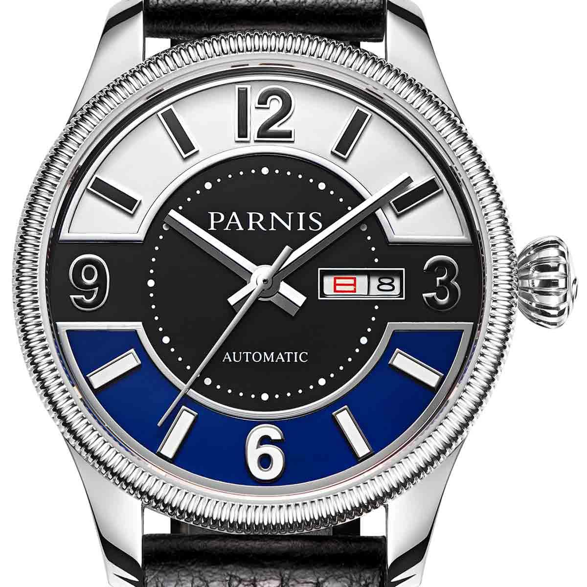 【残り1点】【NEW】PARNIS パーニス 自動巻き 腕時計 [PA6057B-S3AL-SVBK] 並行輸入品 純正ケース メーカー保証12ヶ月