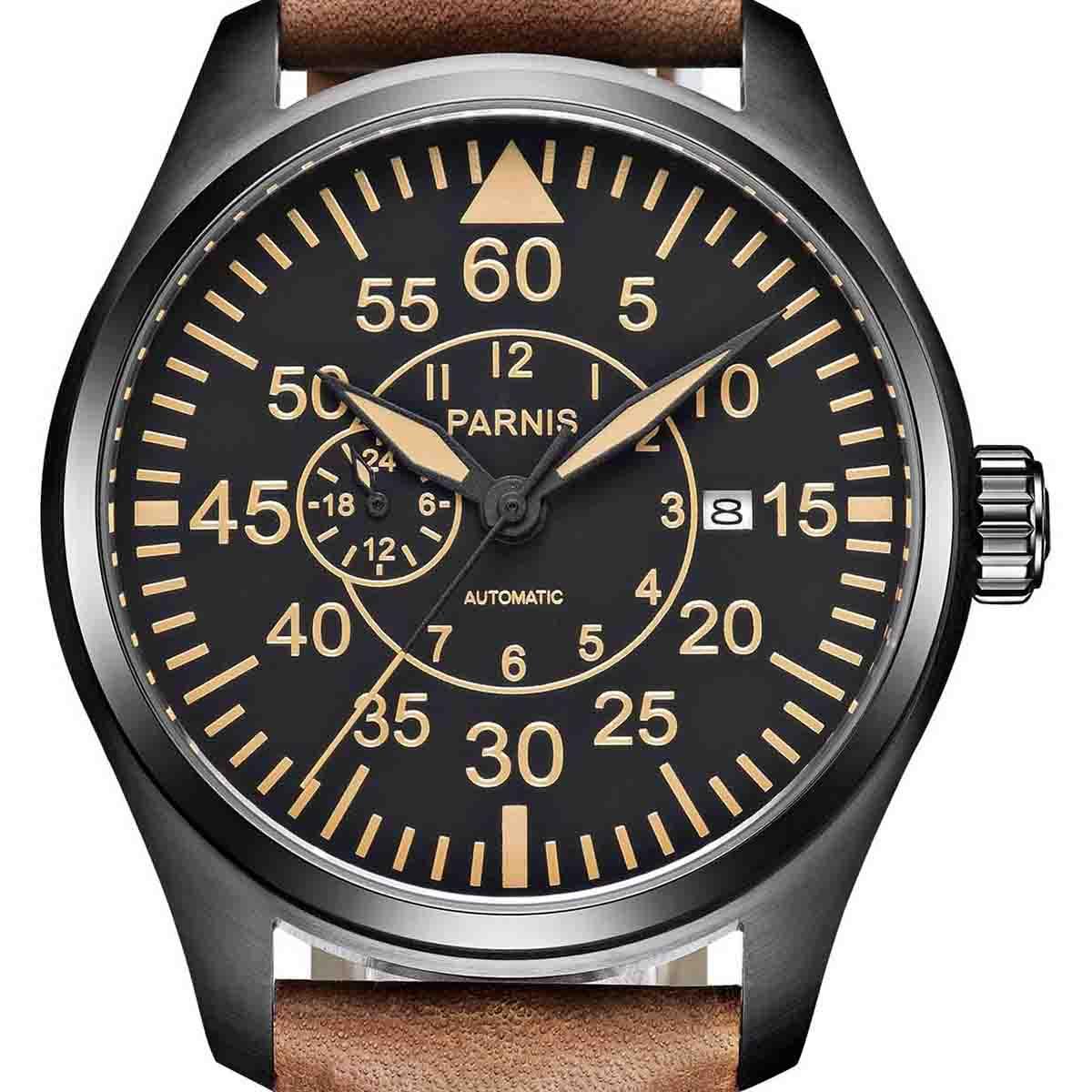 【NEW】PARNIS パーニス 自動巻き 腕時計 [PA6063-S4AL-BKBR] 並行輸入品 純正ケース メーカー保証12ヶ月
