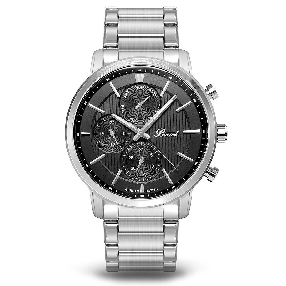 【残り1点】Bossart ボッサート クォーツ 腕時計 メンズ [BW-1401-AS-BK-BRC] 並行輸入品 メーカー保証24ヵ月 純正ケース付き