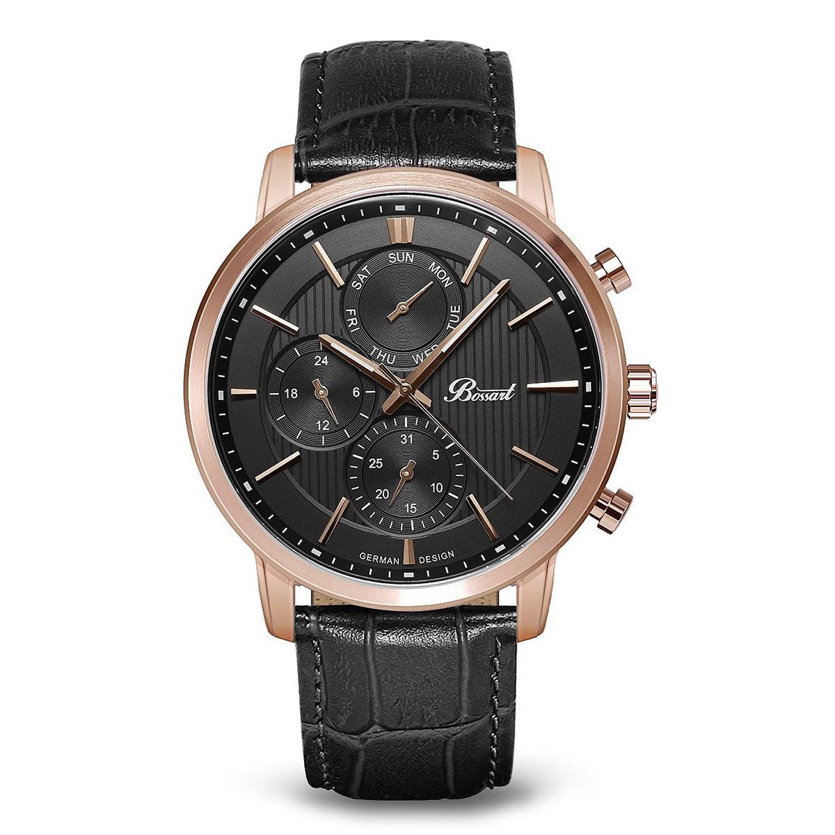 【残り1点】Bossart ボッサート クォーツ 腕時計 メンズ [BW-1401-IR-BK] 並行輸入品 メーカー保証24ヵ月 純正ケース付き