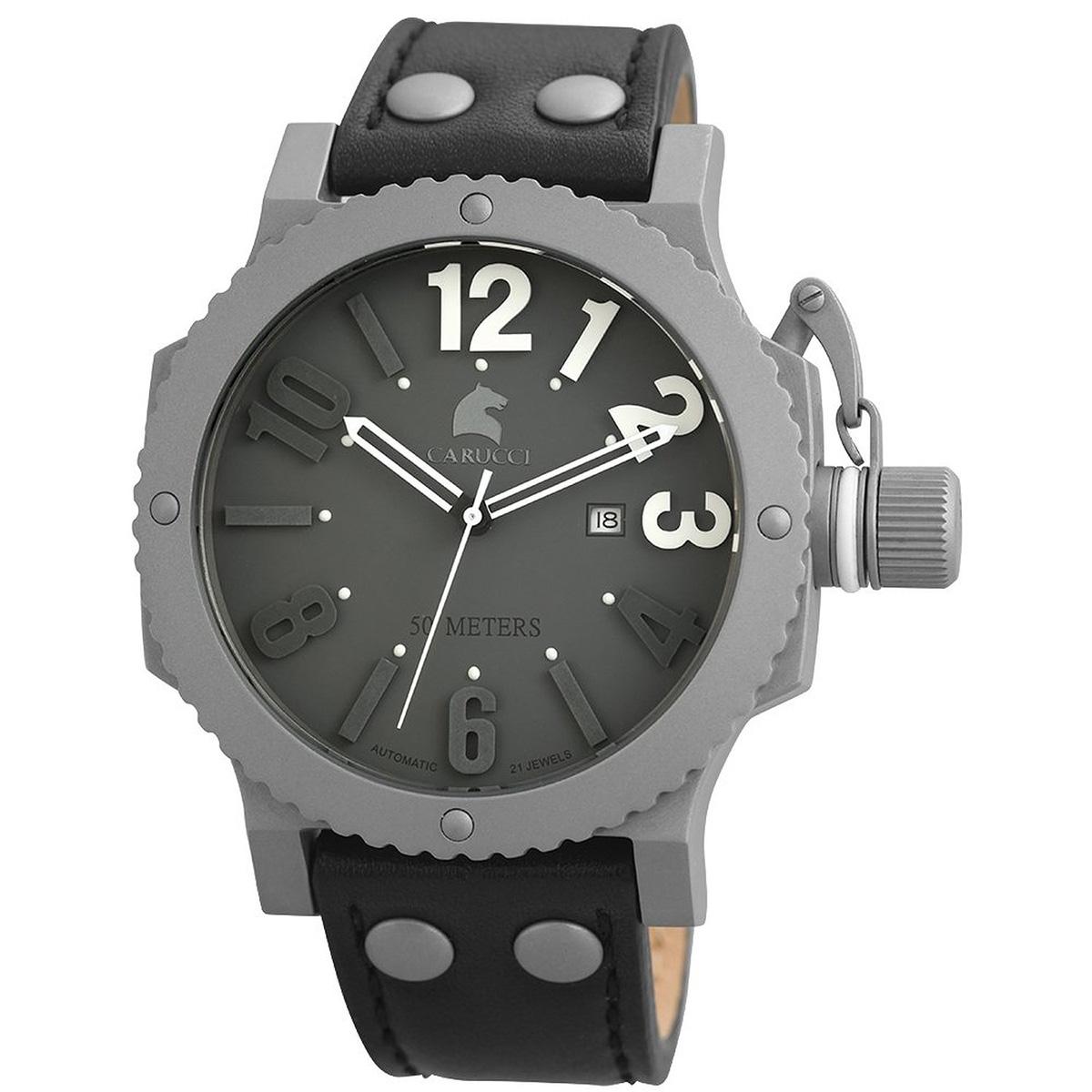 【残り1点】Carucci カルッチ 自動巻き 腕時計 メンズ [CA2211GR-BK] 並行輸入品 メーカー国際保証24ヵ月 純正ケース付き