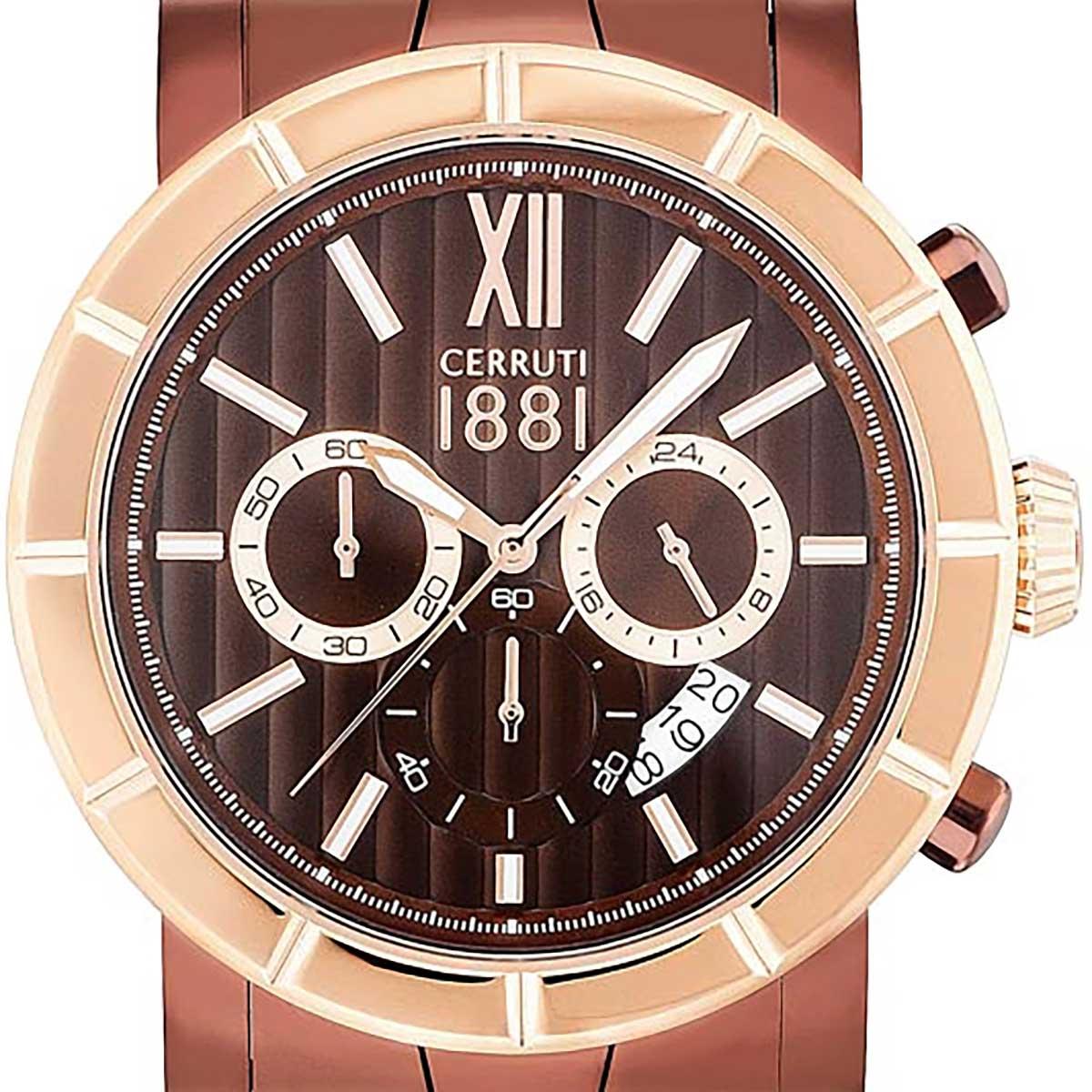 【残り1点】CERRUTI 1881 チェルッティ1881 電池式クォーツ 腕時計 [CRA142SBZR12MBZ] 並行輸入品 ブラウン(茶)