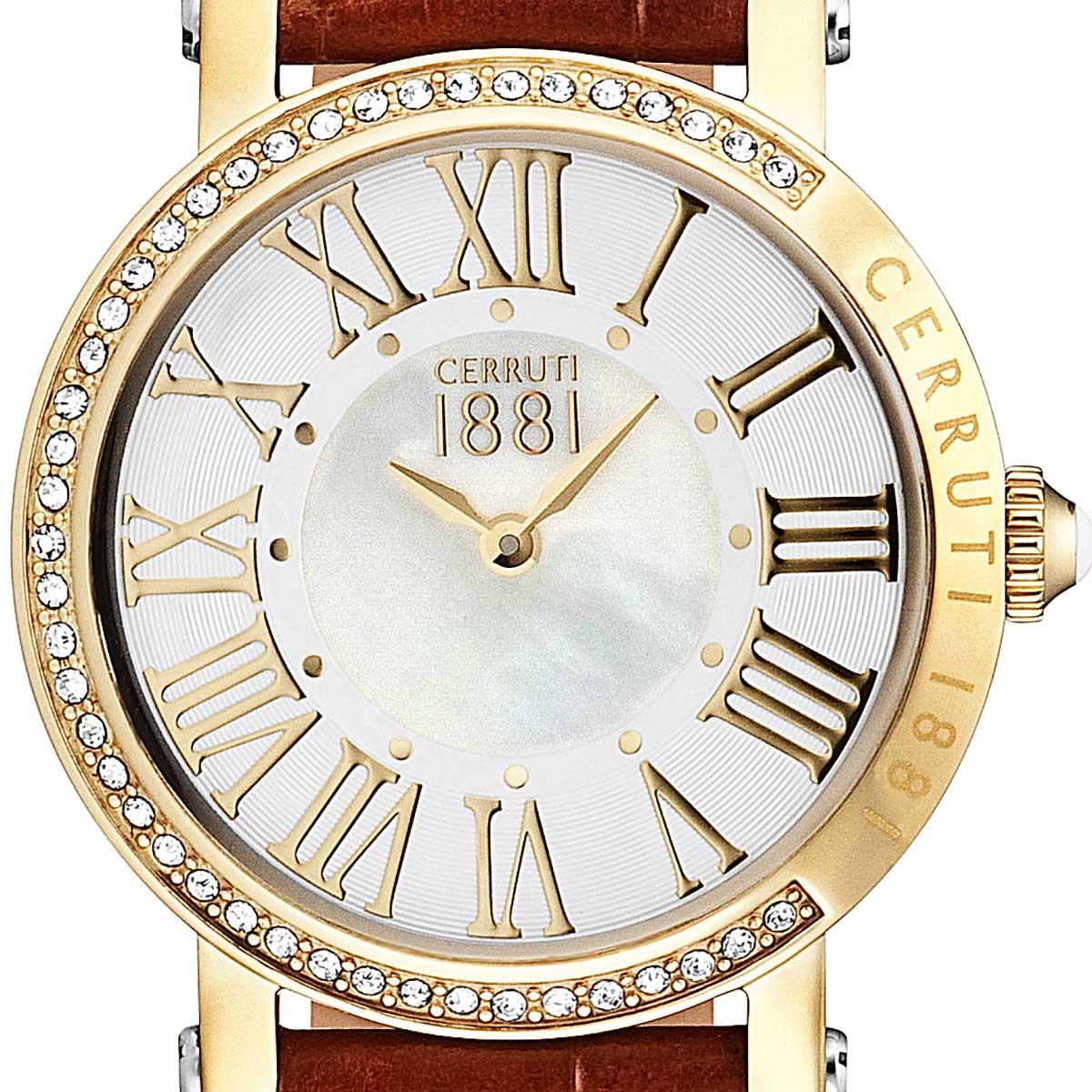 【残り1点】CERRUTI 1881 チェルッティ1881 電池式クォーツ 腕時計 [CRM139SG28BR] 並行輸入品 ホワイト(白)