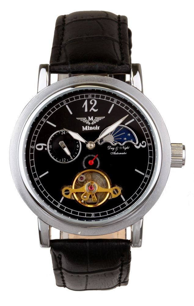 Minoir ミノアール 自動巻き 腕時計 メンズ [Mi-Mistral-Sil-S-L] 並行輸入品 保6ヵ月 収納ケース付き