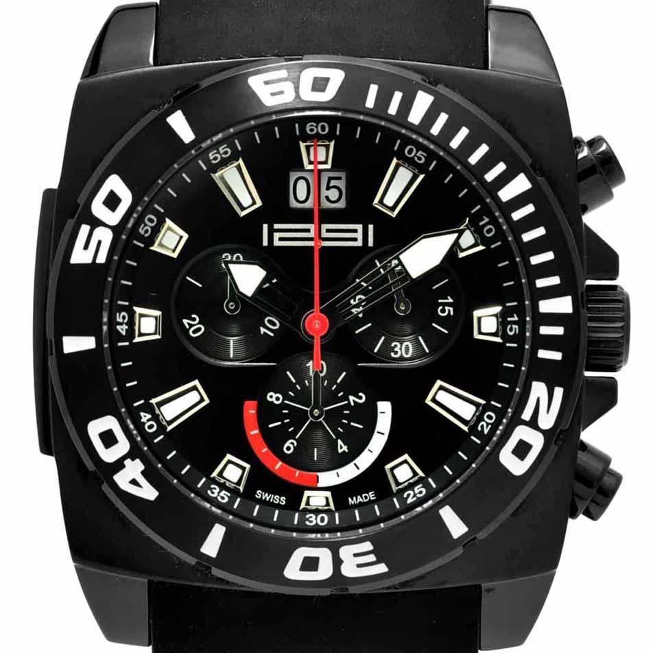 1291 Watches スイス製 腕時計 メンズ 1291 TRANSFORMER BLACK クロノグラフ [1291TB] 正規代理店品 メーカー国際保証24ヵ月 純正ケース付き
