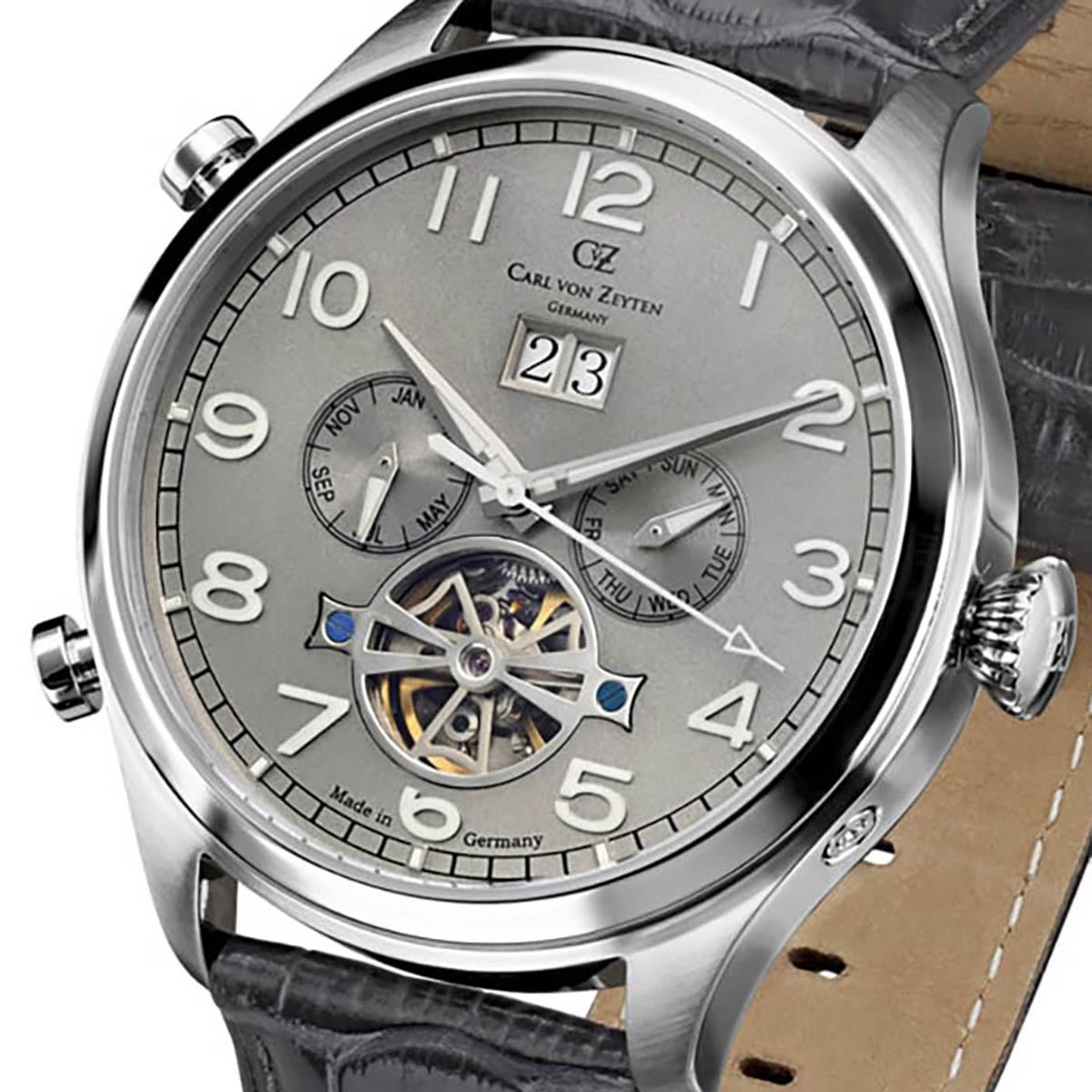 Carl von Zeyten カール・フォン・ツォイテン 自動巻き(手巻き機能あり) 腕時計 [CvZ0003SGY] 正規品  カレンダー スケルトン