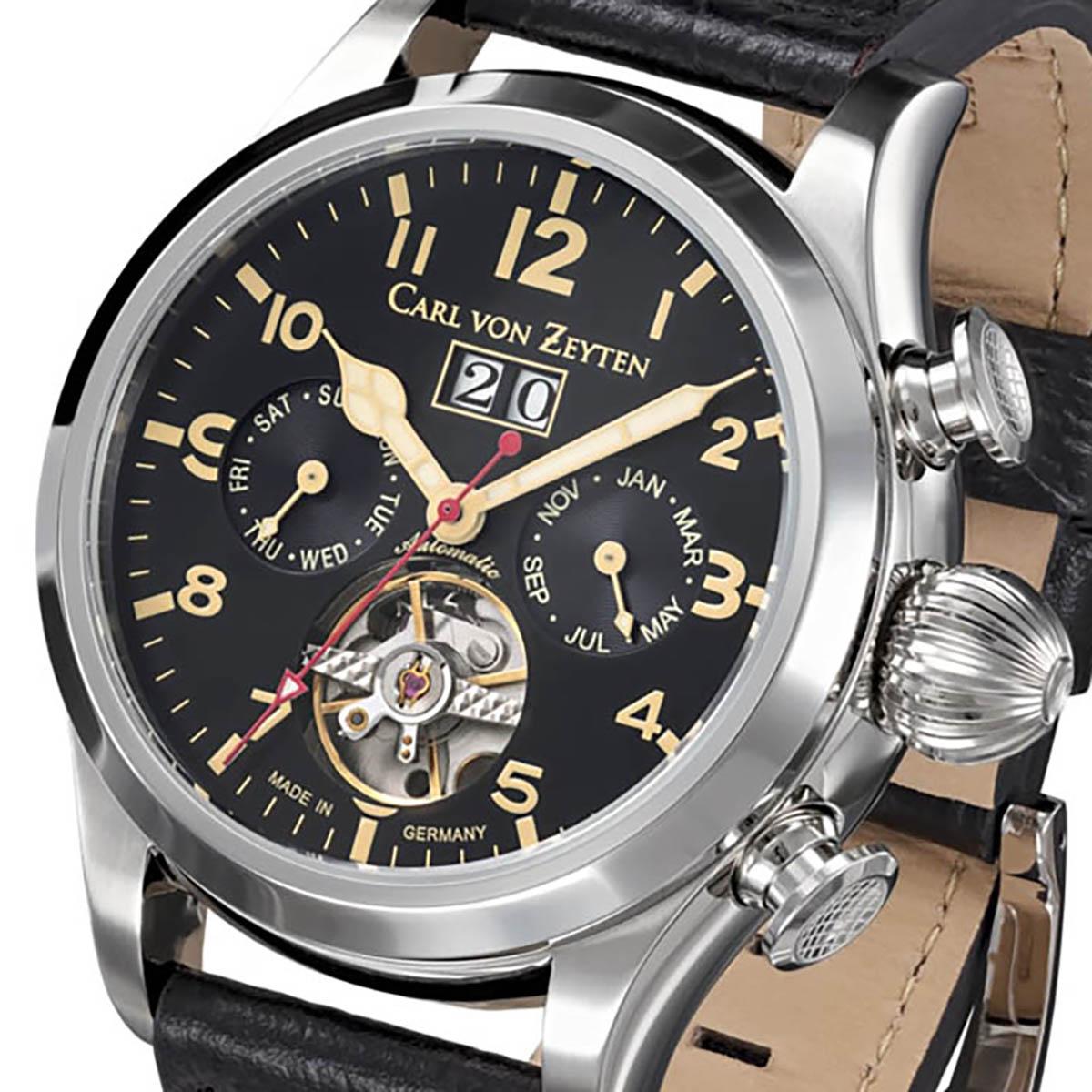 Carl von Zeyten カール・フォン・ツォイテン 自動巻き(手巻き機能あり) 腕時計 [CvZ0025BK] 正規品  カレンダー スケルトン