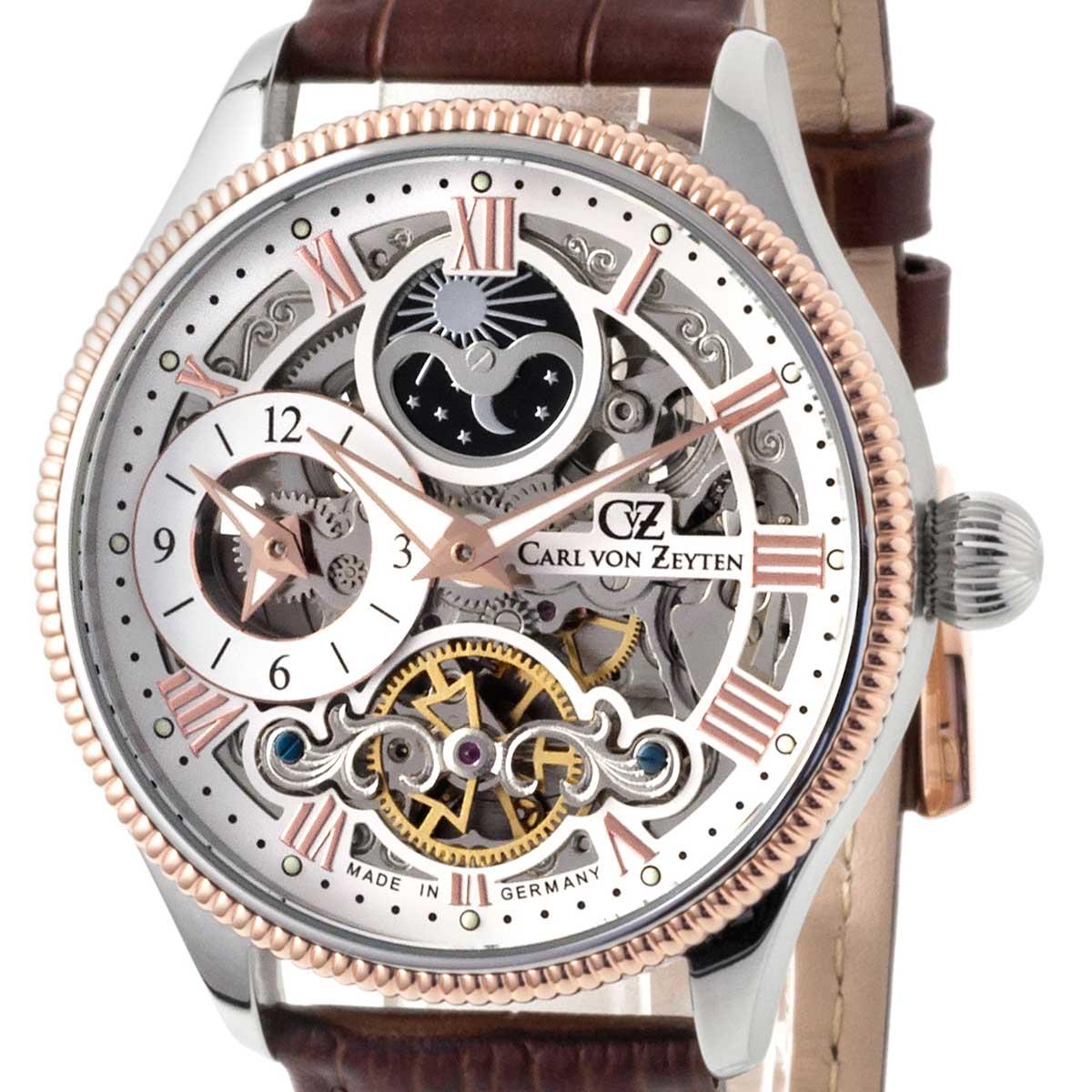 Carl von Zeyten カール・フォン・ツォイテン 自動巻き(手巻き機能あり) 腕時計 [CvZ0034RWH] 正規代理店品  デイ&ナイト(サン&ムーン)スケルトン