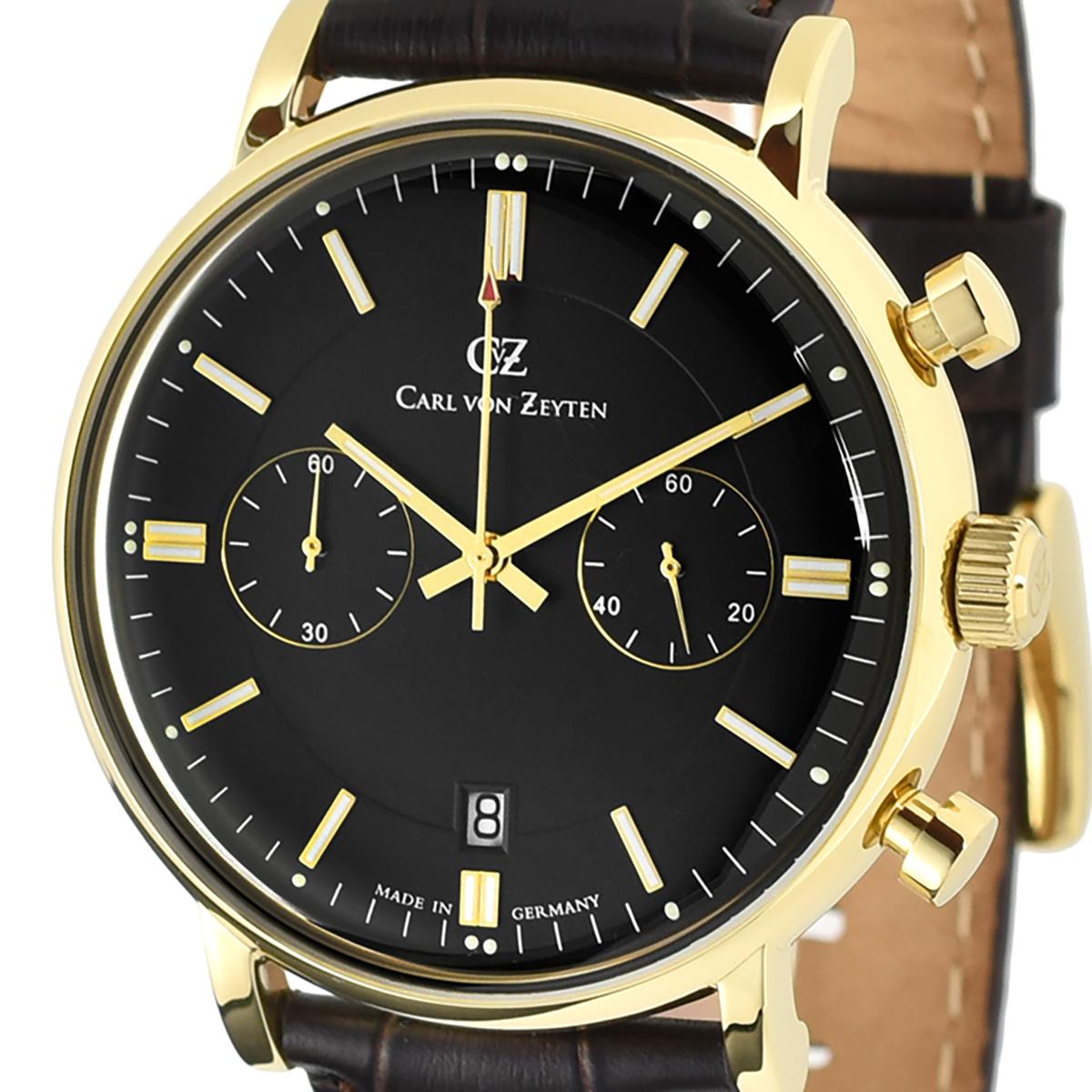Carl von Zeyten カール・フォン・ツォイテン 電池式クォーツ 腕時計 [CVZ0037GBK] 正規代理店品  デイト クロノグラフ