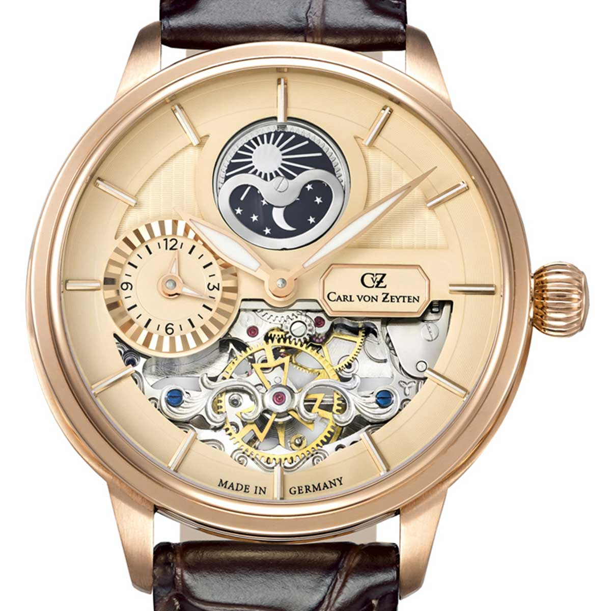 Carl von Zeyten カール・フォン・ツォイテン 自動巻き(手巻き機能あり) 腕時計 [CvZ0048RG] 正規代理店品  デイ&ナイト(サン&ムーン) GMT(ワールドタイム)