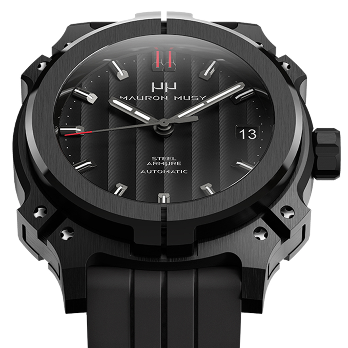 【残り1点】MAURON MUSY モーロン・ミュジー 自動巻き 腕時計 [MU01-102-BlackRubber]  デイト