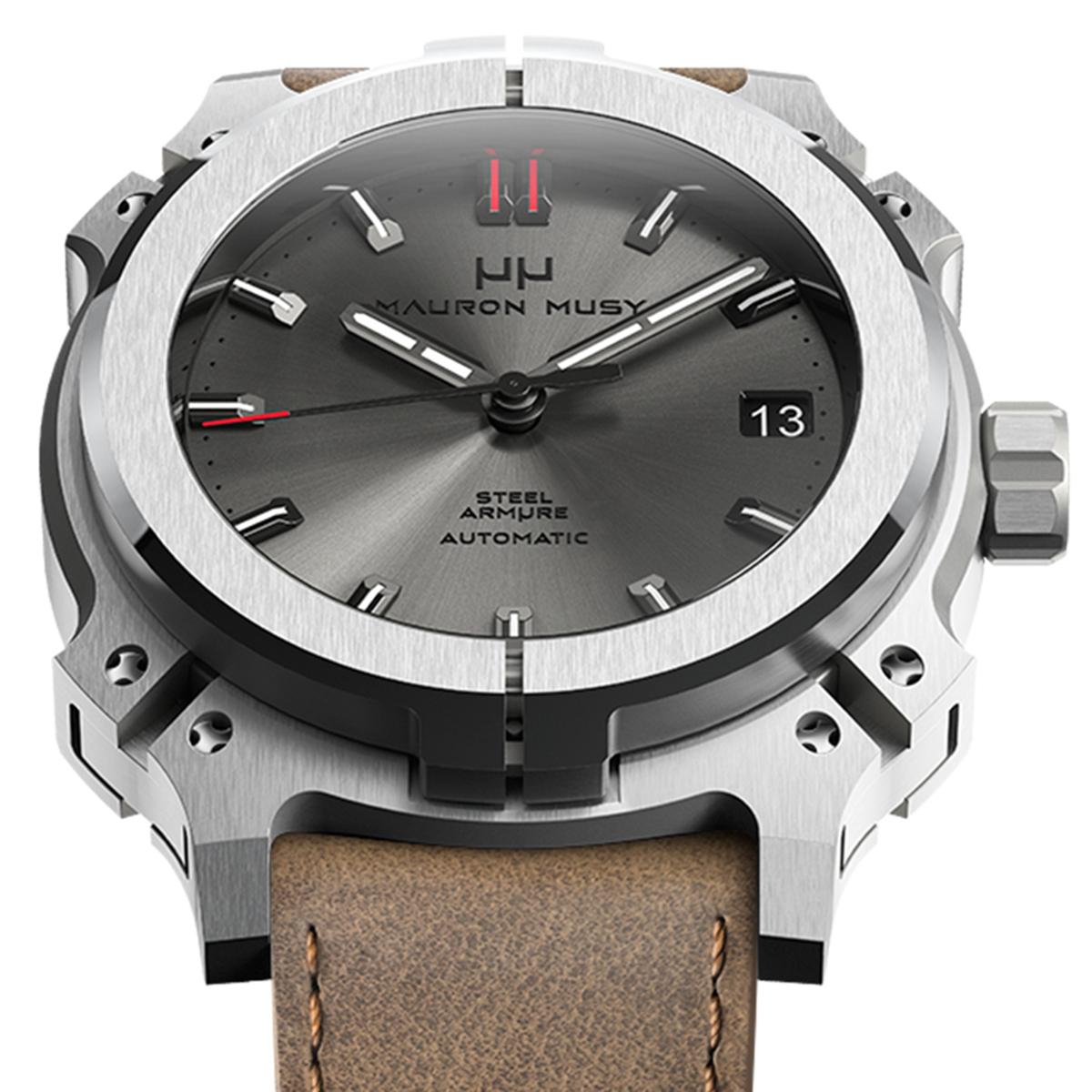 【残り1点】MAURON MUSY モーロン・ミュジー 自動巻き 腕時計 [MU01-202-BrownLeather]  デイト