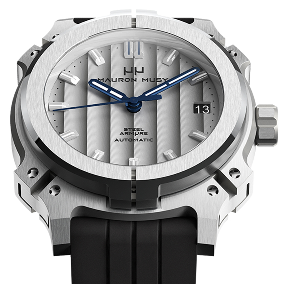 【残り1点】MAURON MUSY モーロン・ミュジー 自動巻き 腕時計 [MU01-203-BlackRubber]  デイト