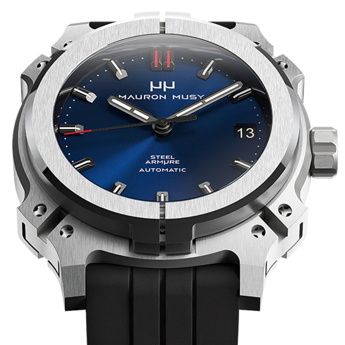 【残り1点】MAURON MUSY モーロン・ミュジー 自動巻き 腕時計 [MU01-204-BlackRubber]  デイト