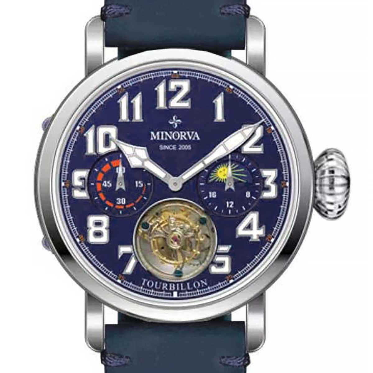 【新入荷】MINORVA ミノルヴァ 自動巻トゥールビヨン 腕時計 [JL013.2] 正規輸入品 パワーリザーブ表示  サン&ムーン