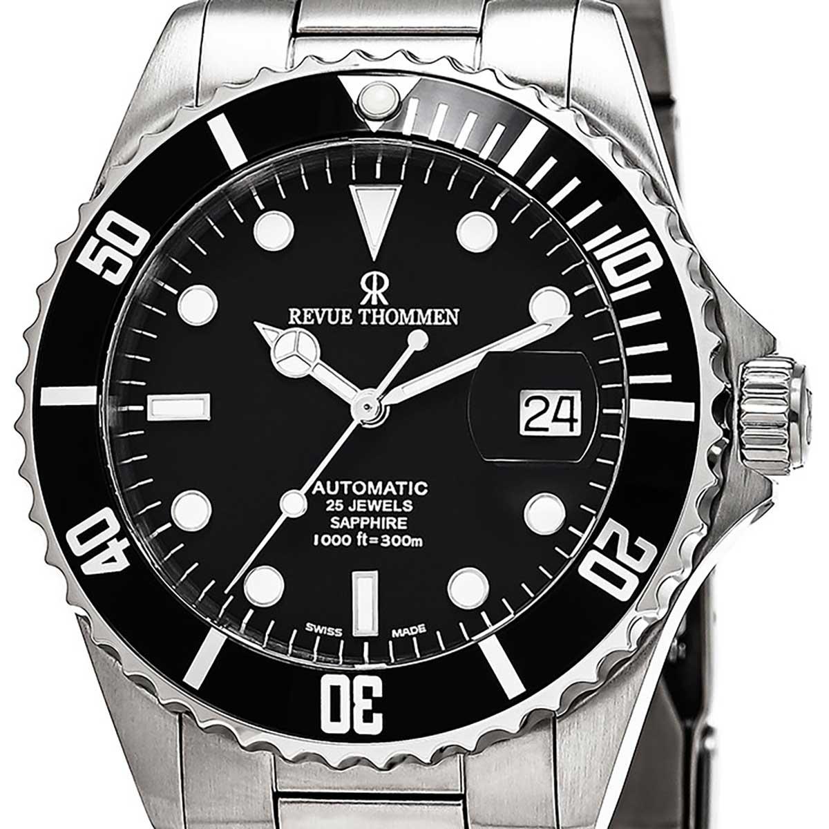 REVUE THOMMEN レビュートーメン 自動巻き(手巻き機能あり) 腕時計 [17571.2137] 並行輸入品 ブラック(黒)