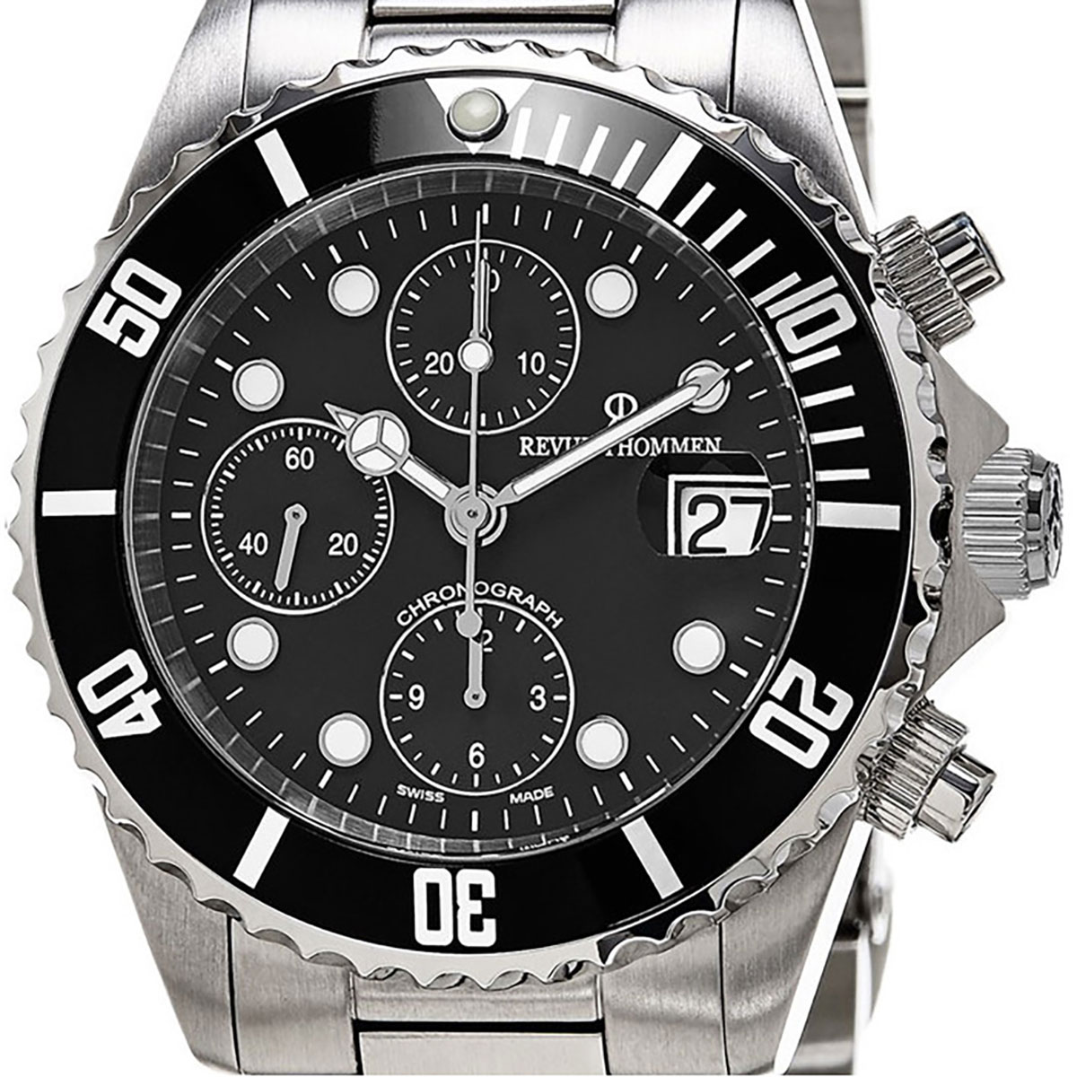 【残り1点】REVUE THOMMEN レビュートーメン 自動巻き(手巻き機能あり) 腕時計 [17571.6137] 並行輸入品 ブラック(黒)