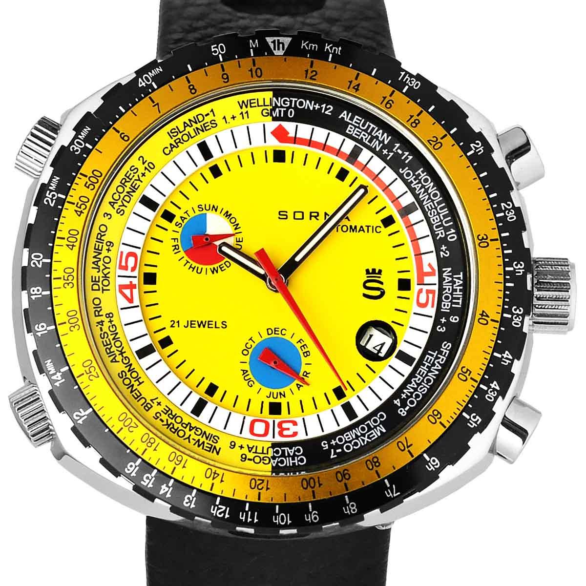 SORNA ソルナ 自動巻き(手巻き機能あり) 腕時計 [T21707-YELLOW] 並行輸入品 カレンダー GMT(ワールドタイム) タキメーターベゼル