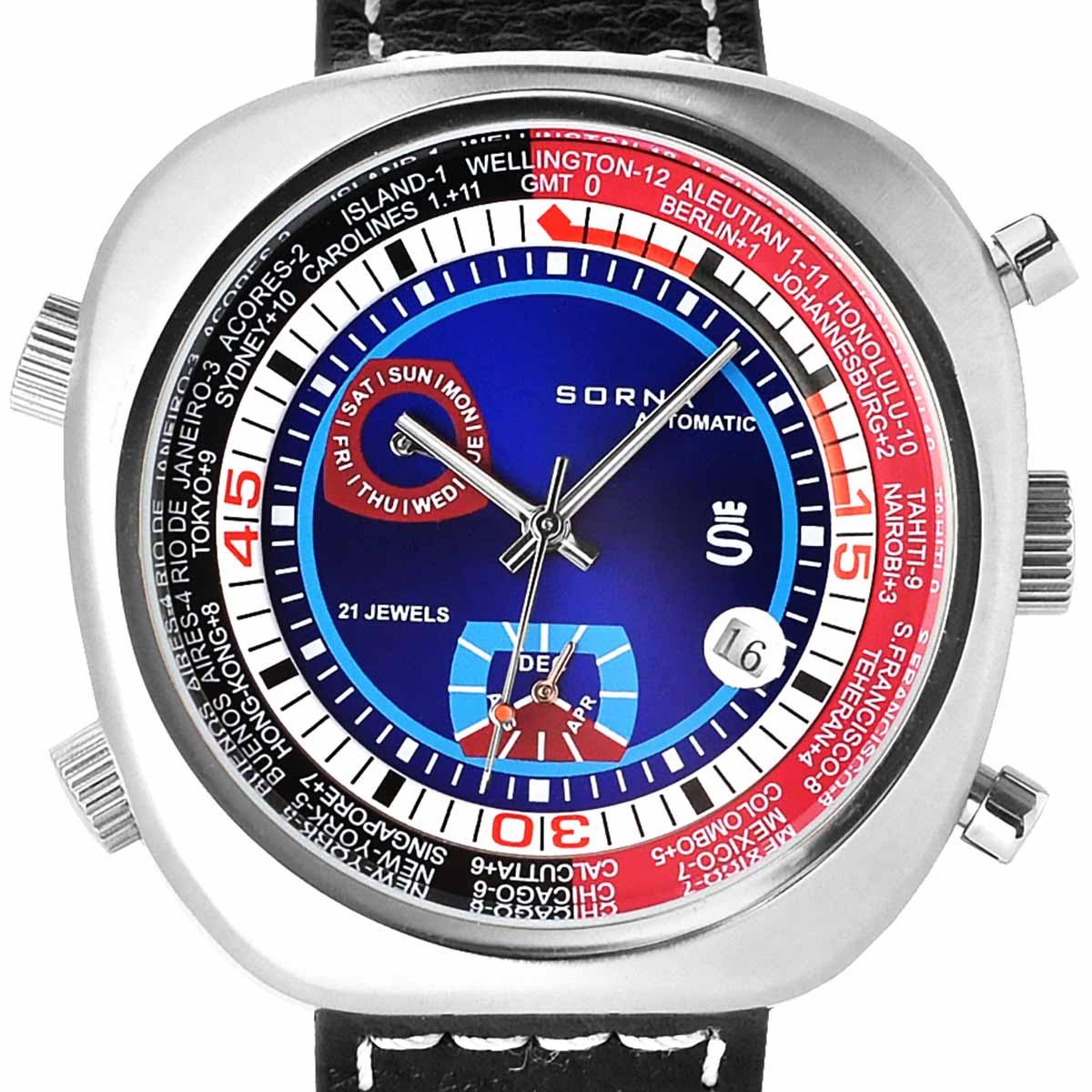 SORNA ソルナ 自動巻き(手巻き機能あり) 腕時計 [T23766-BLUE] 並行輸入品 カレンダー GMT(ワールドタイム)