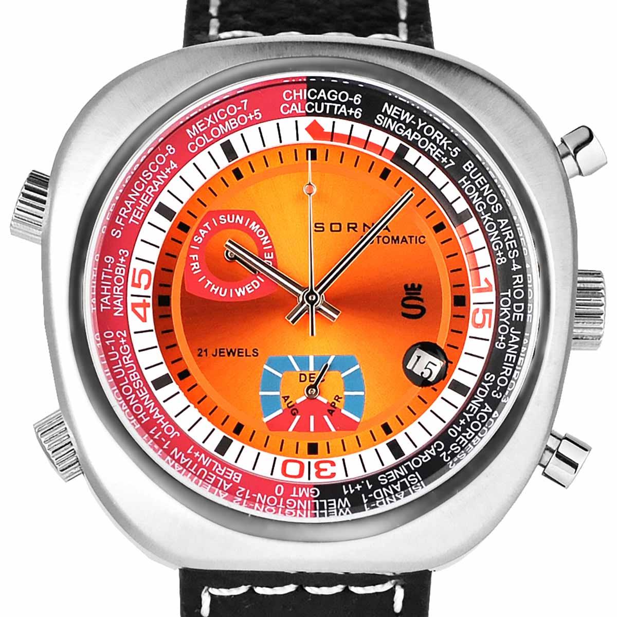 【残り1点】SORNA ソルナ 自動巻き(手巻き機能あり) 腕時計 [T23766-ORANGE] 並行輸入品 カレンダー GMT(ワールドタイム)