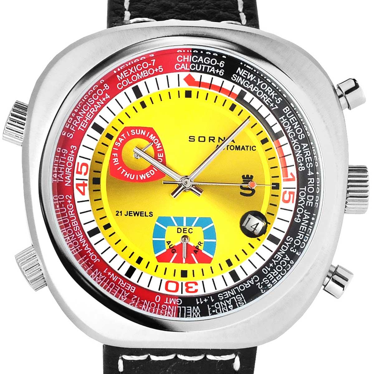 SORNA ソルナ 自動巻き(手巻き機能あり) 腕時計 [T23766-YELLOW] 並行輸入品 カレンダー GMT(ワールドタイム)