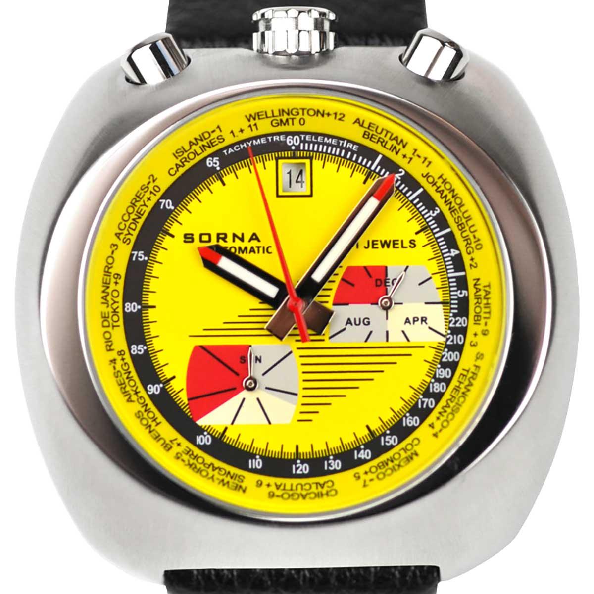 SORNA ソルナ 自動巻き(手巻き機能あり) 腕時計 [T23786-YELLOW] 並行輸入品 カレンダー