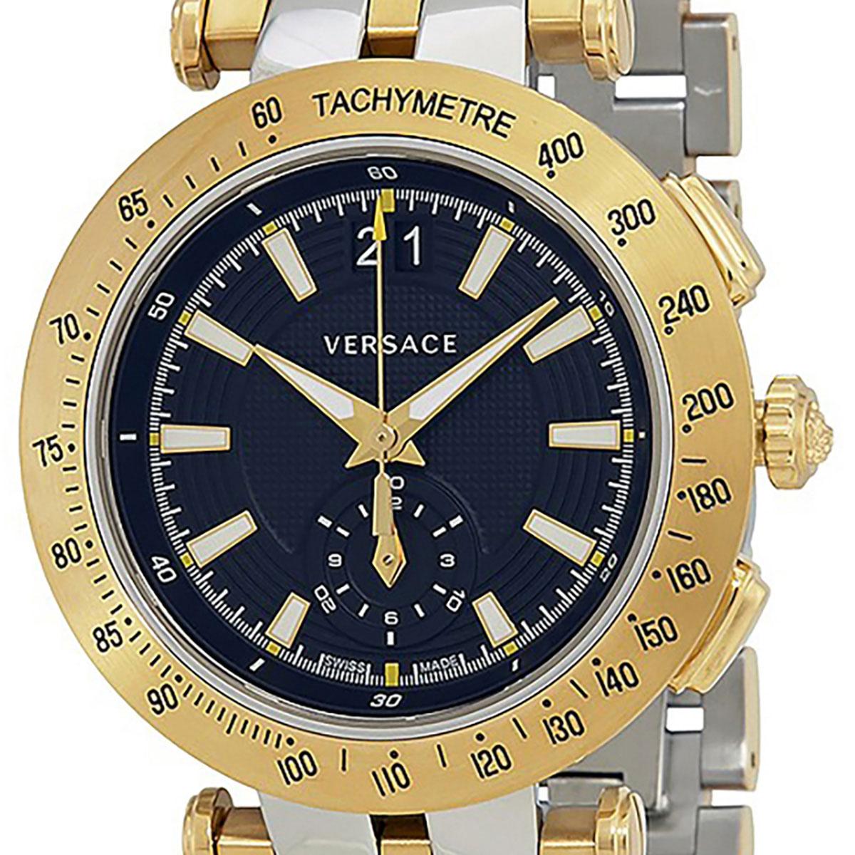 【残り1点】Versace ヴェルサーチ 電池式クォーツ 腕時計 [VAH020016] 並行輸入品  デイト カレンダー クロノグラフ タキメーターベゼル