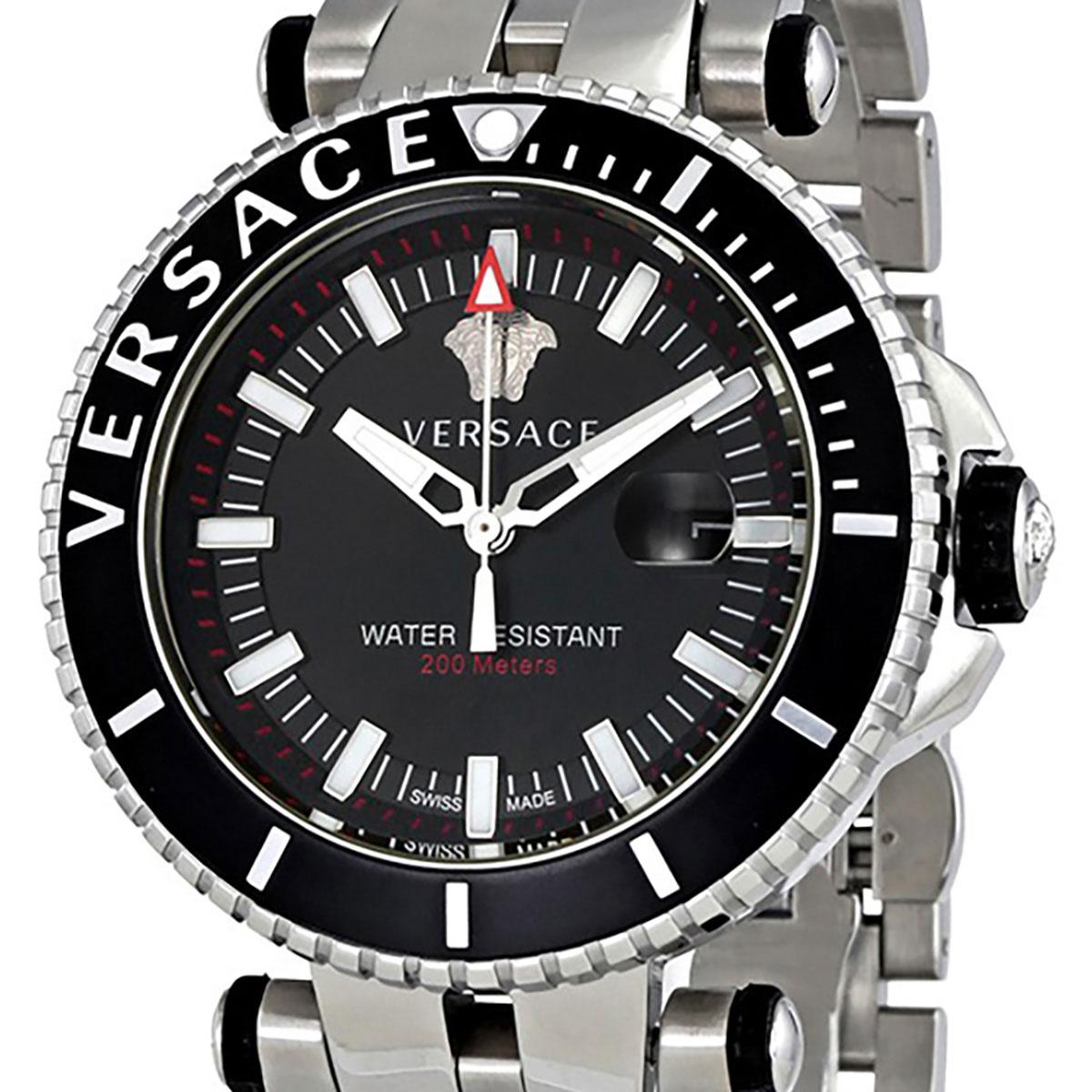 【残り1点】Versace 【残り1点】Versace 【残り1点】Versace ヴェルサーチ 電池式クォーツ 腕時計 [VAK030016] 並行輸入品  デイト カレンダー 逆回転防止ベゼル ダイバーズ 7d0