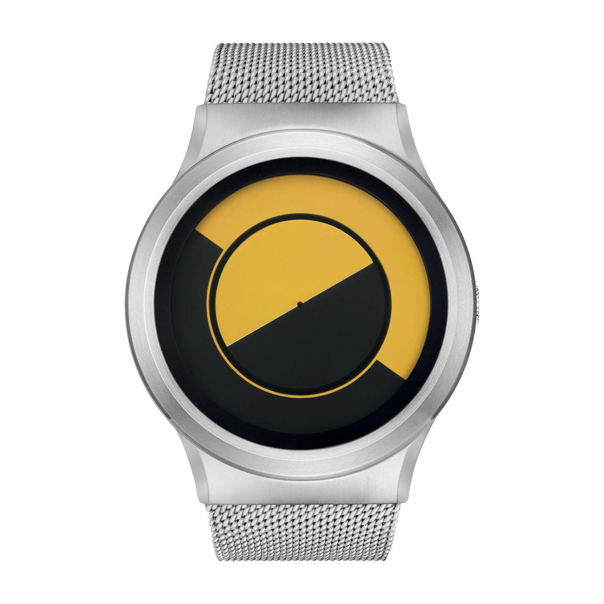 ZEROO QUARTER MOON ゼロ 電池式クォーツ 腕時計 [W08034B01SM01] イエロー デザインウォッチ ペア用 メンズ レディース ユニセックス おしゃれ時計 デザイナーズ