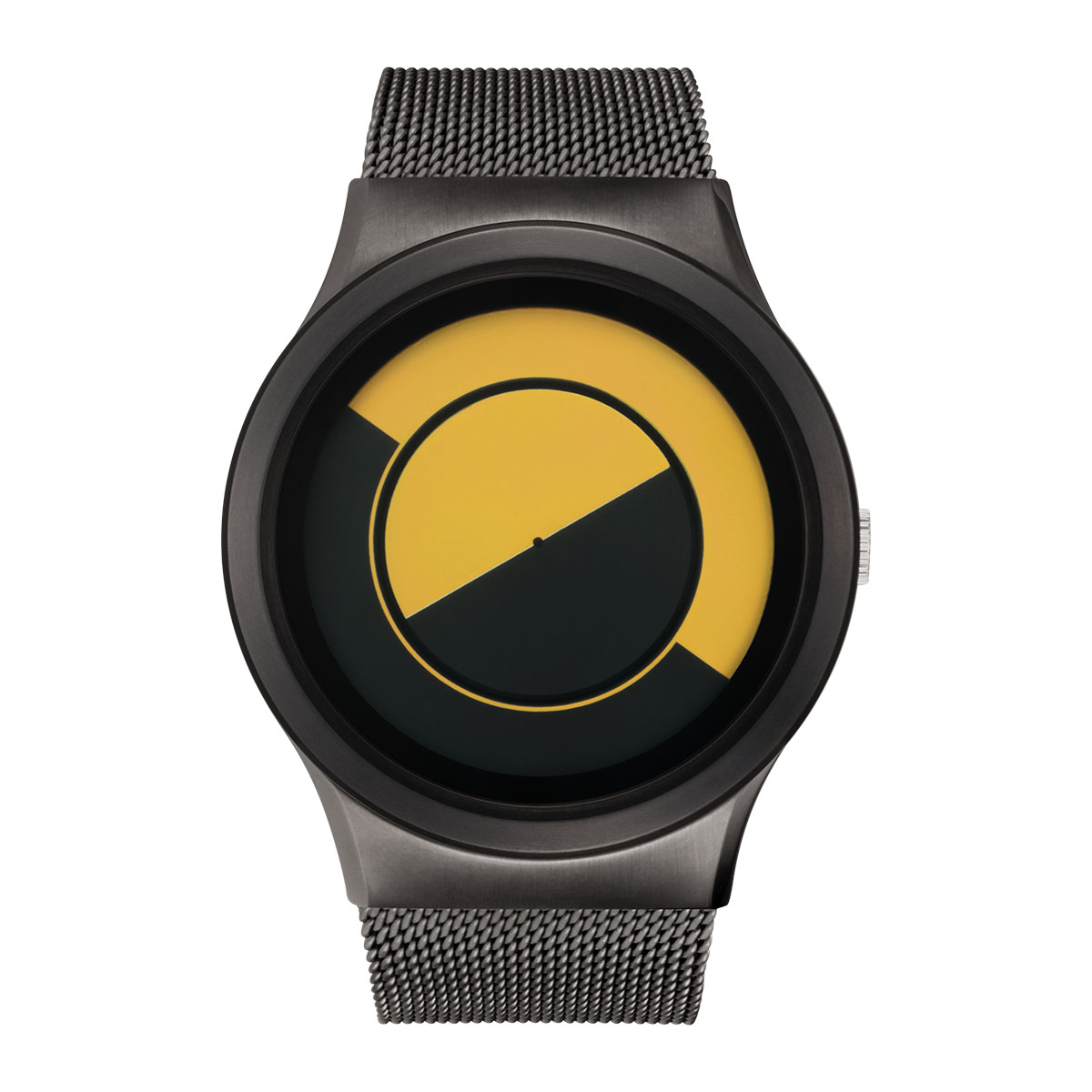 ZEROO QUARTER MOON ゼロ 電池式クォーツ 腕時計 [W08034B02SM02] イエロー デザインウォッチ ペア用 メンズ レディース ユニセックス おしゃれ時計 デザイナーズ