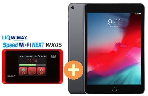 UQ WiMAX 正規代理店 3年契約UQ Flat ツープラスAPPLE iPad mini 7.9インチ 第5世代 Wi-Fi 64GB 2019年春モデル MUQW2J/A [スペースグレイ] + WIMAX2+ Speed Wi-Fi NEXT WX05 アップル タブレット セット iOS アイパッド 新品【回線セット販売】B