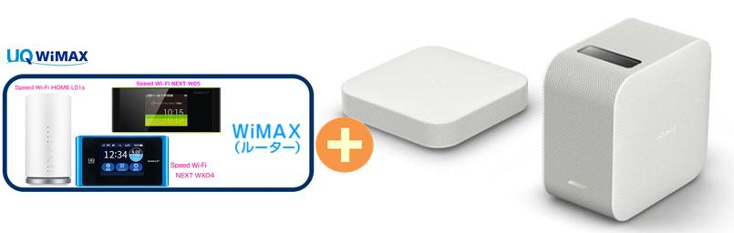UQ WiMAX 正規代理店 3年契約UQ Flat ツープラスSONY LSPX-P1 + WIMAX2+ (WX04,W05,HOME L01s)選択 ソニー プロジェクタ セット 新品【回線セット販売】B