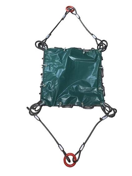 超定番 ワイヤーモッコA-1型 2本吊リング付 シート付 グリーン ご注文で当日配送 ※専用シャックル使用 1.8m×1.8m 網目:100mm 使用荷重:3t 鉄くず 解体工事 建築工事 石材 土砂 吊り工事 土木工事