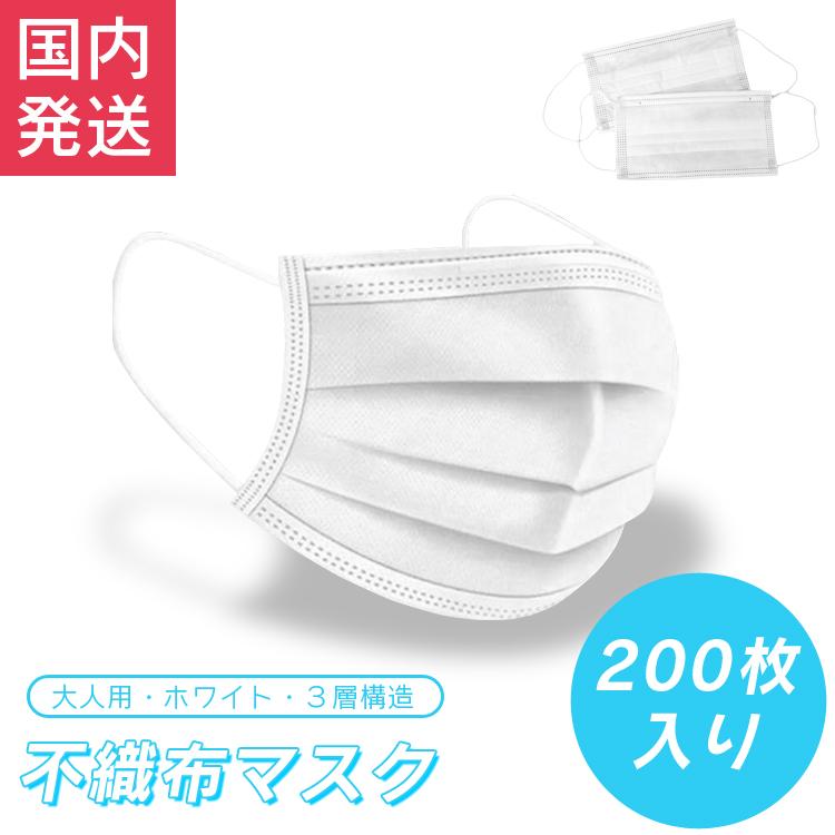 不織布マスク 200枚 大人用 ホワイト マスク 使い捨てマスク 3層 プリーツマスク 花粉症 PM2.5 対策