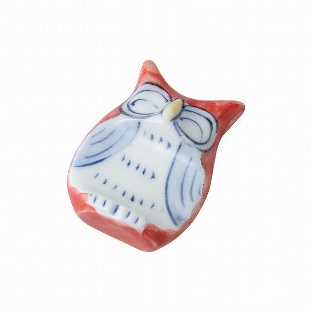 新品 受注後3~4日で発送をいたします 手描ふくろう 飾り箸置 赤 小 波佐見焼 Hand painted owl rest ware Japanese いよいよ人気ブランド おトク kazari Red Hasami spoon small ceramic. chopstick