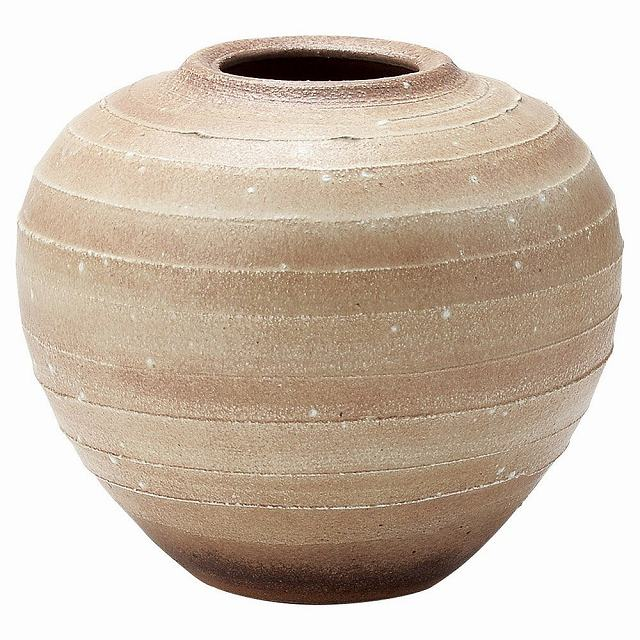 信楽焼 砂泥風紋 花器・花瓶 化粧箱入 Japanese Ceramic Shigaraki ware. Ikebana flower vase. Sadei kazemon.