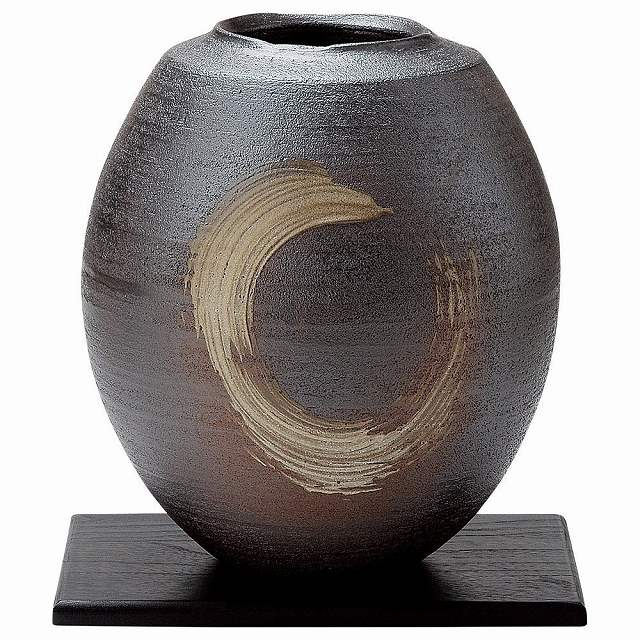 信楽焼 まる刷毛目 花器・花瓶 化粧箱入 Japanese Ceramic Shigaraki ware. Ikebana flower vase. Maru hakeme.
