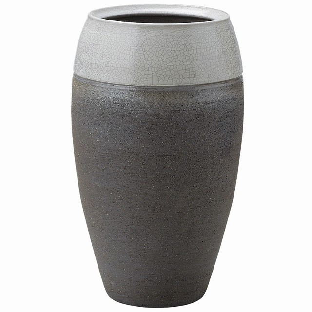 信楽焼 いぶし貫入 花器・花瓶 特別梱包 Japanese Ceramic Shigaraki ware. Ikebana flower vase. Ibushi kannyu.