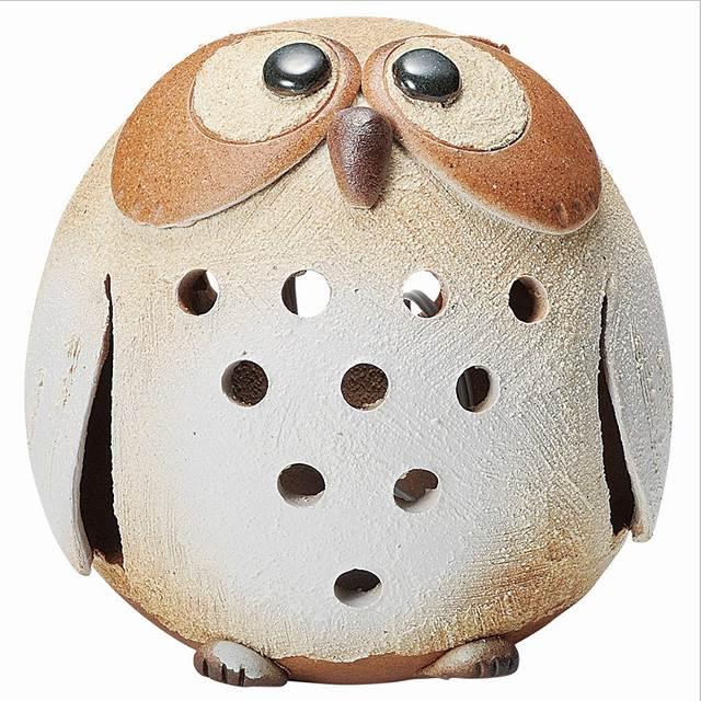 信楽焼 丸たまふくろう 癒しあかり 卓上ランプ Japanese Ceramic Shigaraki ware. Lampshade. Desk Light. Marutama owl.
