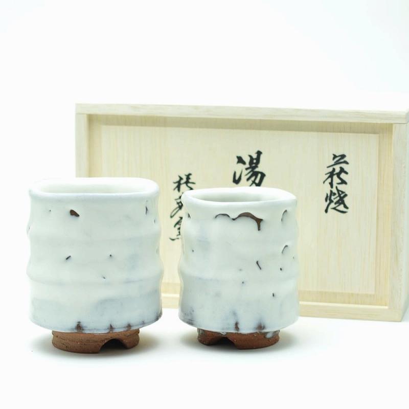 萩焼 白釉組湯呑 圭一郎作(木箱) Hagiyaki two cups made in Japan with wood box. Japanese pottery