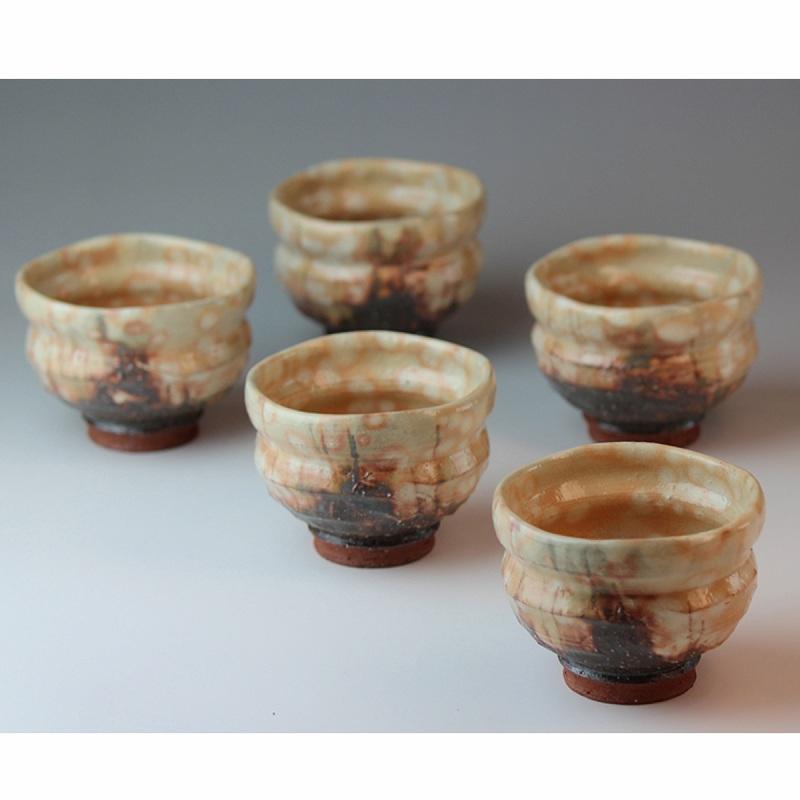 萩焼 紅葉汲み出し揃 圭一郎作(木箱) Hagiyaki 5 tea cups made in Japan. Japanese pottery with wood box.