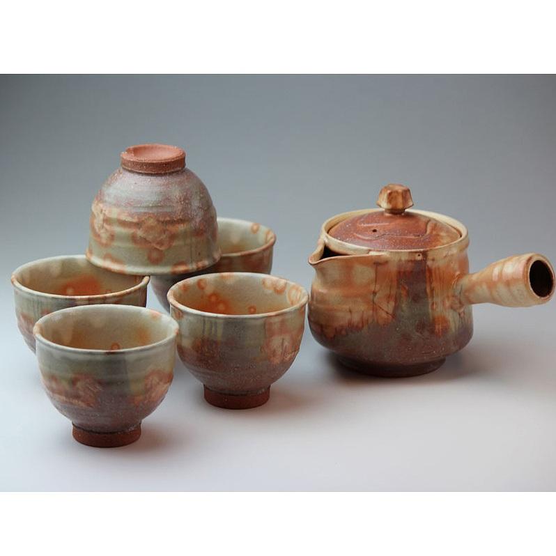 萩焼 紅葉茶器揃(木箱) Hagiyaki teapot set made in Japan. Japanese pottery with wood box.