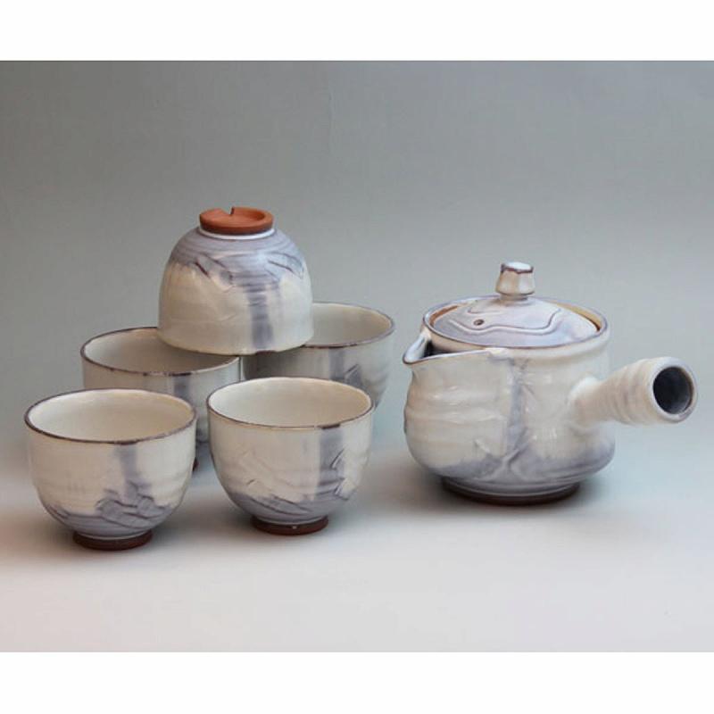 萩焼 あじさい茶器揃 木箱入 Japanese ceramic Hagi-ware. Set of ajisai kyusu teapot and 5 teacups with wooden box.